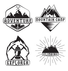 set of vintage labels mountain adventure and vector image vector image
