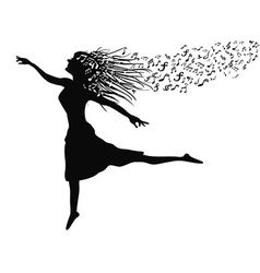 woman dancing with music note vector image vector image