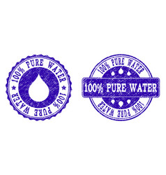 100 pure water grunge stamp seals vector image