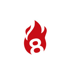 8 eight number fire flame logo icon vector