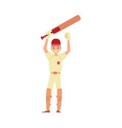 a man cricket player cricketer and batsman raised vector image