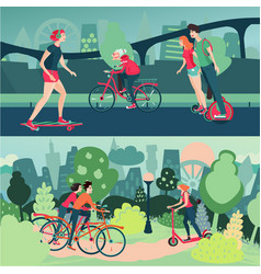 active people on city street and park outdoor vector image