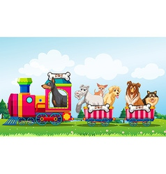Animals and train vector