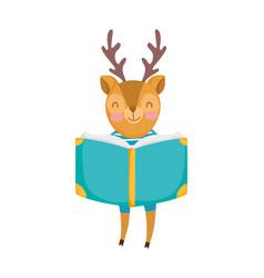 back to school education cute deer reading book vector image