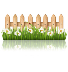 Background with a wooden fence with grass flowers vector image