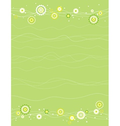 Background with white and green flowers vector