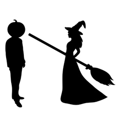 Beautiful witch with a broom vector
