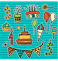 birthday kids sticker vector image