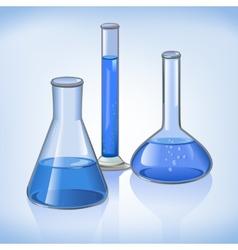 Blue laboratory flasks glassware symbol vector
