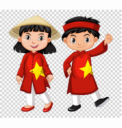 Boy and girl from vietnam vector