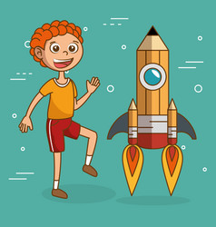 boy with pencil rocket launcher vector image