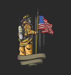 Brave american firefighter vector