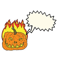 cartoon burning pumpkin with speech bubble vector image