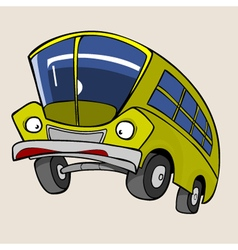 Cartoon Character Yellow Bus surprised vector