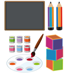 Chalkboard and other education items vector