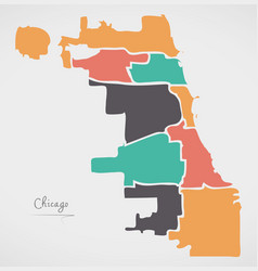 Chicago map with boroughs and modern round shapes vector