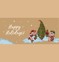 christmas kraft paper card hand drawn style vector image