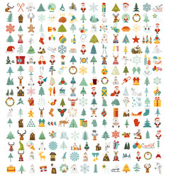 christmas new year holidays icon big set flat vector image