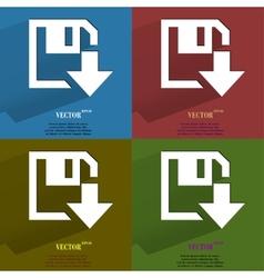 Color set floppy disk download Flat modern web vector image