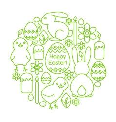 Composition of Easter symbols line art vector