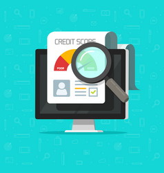 credit score online report research document on vector image