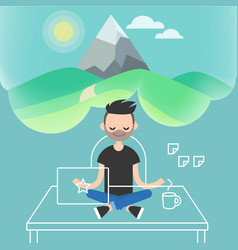 dealing with stress young character meditating vector image