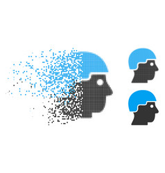 Disintegrating dotted halftone soldier helmet icon vector