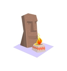 Easter Island Style Monument Jungle Village vector