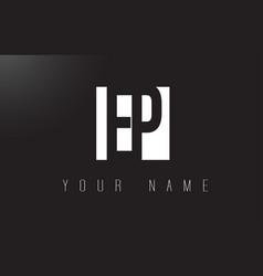 ep letter logo with black and white negative vector image