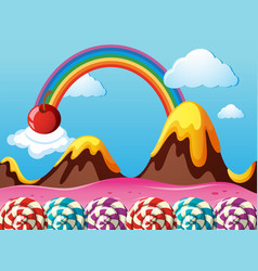 Fantacy land with strawberry field and lollipops vector