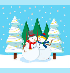 festive card with snowman and fir-tree vector image
