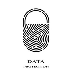 fingerprint padlock logo sign vector image