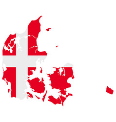 Flag in map denmark vector