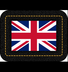 Flag of united kingdom icon on black leather vector