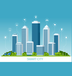 Flat smart city and communication network vector