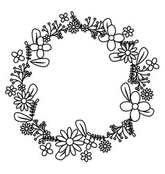 flowers and leafs wreath crown vector image
