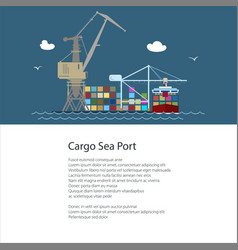 flyer with cargo seaport vector image