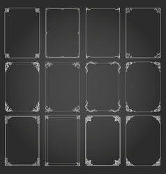 Frames decorative rectangle and borders set vector
