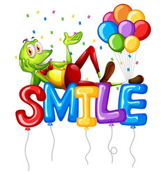 frog and balloons for word smile vector image