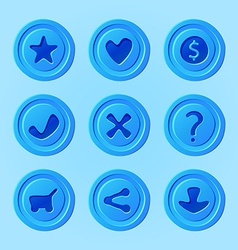 game ui menu blue elements - set for mobile game vector image