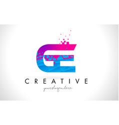 Ge g e letter logo with shattered broken blue vector