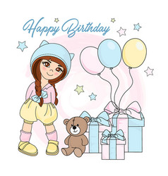 girl birthday color set vector image
