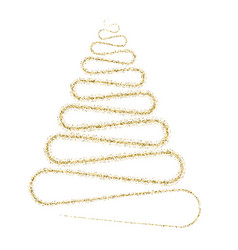 Golden particle wave in form of christmas tree vector