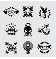 gym and fitness club vintage icon set vector image