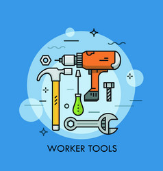 Hand and power tools and machines - screwdriver vector