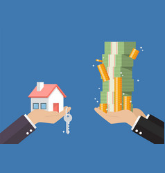 Hand gives home and key to other hand with money vector