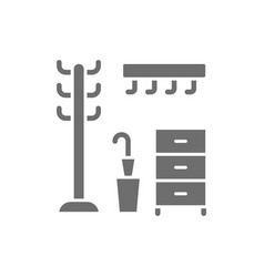 hanger in hallway clothing rack grey icon vector image