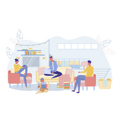 Happy family spending time in home living room vector