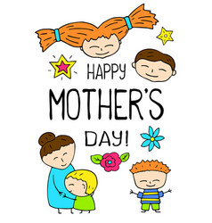 happy mothers day postcard on white background vector image