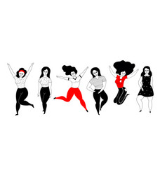Happy plus size girls on a white background vector